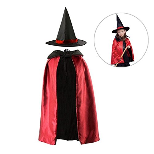 Dolores Halloween Cloak Kids Reversible Satin Witch Cape with Hat Cosplay Party Costume Pretend Dressing Up Props (Dressing Up Adults)