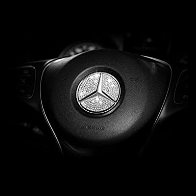 Car Steering Wheel Decorative Stickers For Mercedes-Benz 2014A, B, 2014C, 2014E, S, CLA, GLA, GL, ML, GLE, GLC,GLK Class(Diameter 45mm): Automotive