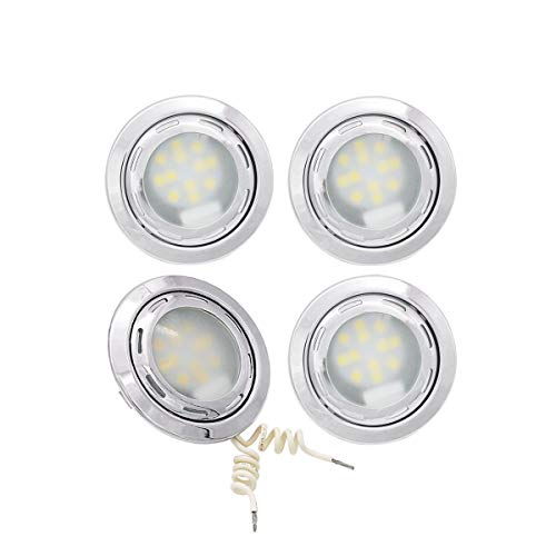 (Meerkatt (Pack of 4) 3 Inch Round Cool White Interior LED Flat Panel Down Lamp Recessed Ceiling Light w/G4 Replacement Bulb Fit any Motorhome Car RV Cabin Hall Kitchen Bathroom 12V DC Shockproof FB-RS)