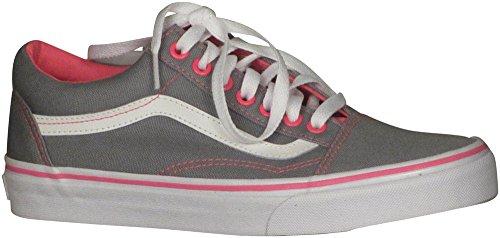 Vans Old Skool Mujeres 8 / Hombres 6.5 Canvas Frost Grey Neon Pink Pop Moda Sneaker