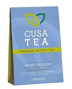 Variety Pack of Cusa Tea Premium Organic Instant Tea - USDA Organic Certified Tea - 10-pack of Instant Tea - 2 servings each of our 5 flavors - Zero Sugar, Preservatives or Flavorings