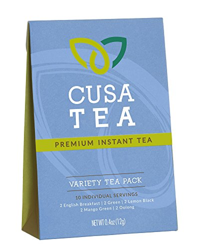 Plantation Iced Tea (Variety Pack of Cusa Tea Premium Organic Instant Tea - Cold Brew Tea - USDA Organic Certified Tea - 10-pack of Instant Tea - 2 servings each of our 5 flavors - Zero Sugar, Preservatives or Flavorings)