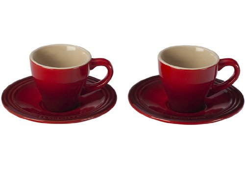 Le Creuset Stoneware Set of 2 Espresso Cups and Saucers, Cerise (Cherry Red)