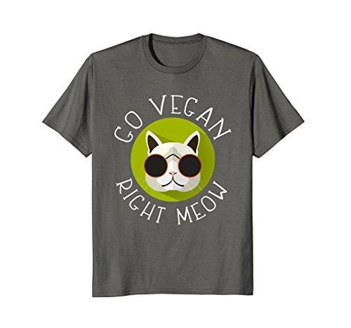 Mens Go Vegan Right Meow Funny Cat Vegan T Shirt Large Asphalt (Meow Cat Dish)