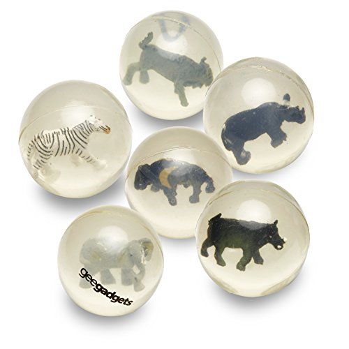 6 Clear Bouncy Balls with Animals - Mini Rubber Bouncing Ball Toys with Safari Kingdom Animals Inside - Great Gift for Kids Party Favors, Prizes and Rewards – Small - by Gee Gadgets - Animal Kingdom Safari