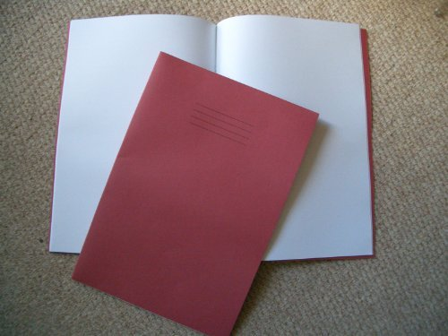 A4 Plain Single School Exercise Book Blank, Red Cover, 64 Pages x 1 Rhino