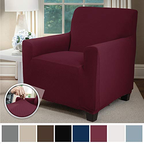 Sofa Shield Original Fitted 1 Piece Chair Slipcover, Soft Stretch, Seat Width Up to 23 Inch Furniture Protector, Washable Covers for Chairs, Spandex Fit Slip Cover, Dogs, Pets, Kids, Chair, Burgundy