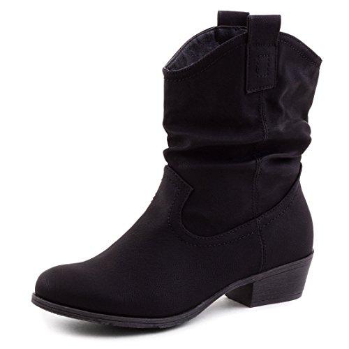 Damen Stiefel Stiefeletten Western Biker Boots Lederoptik Schwarz