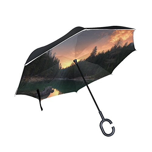 RH Studio Inverted Umbrella Lake Mountains Trees Large Double Layer Outdoor Rain Sun Car Reversible Umbrella by RH Studio