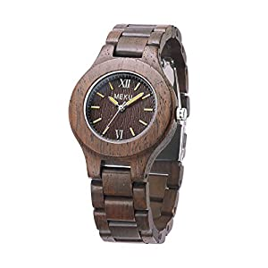 MEKU Womens Wood Watch Natural Sandalwood Handmade Watch for Lady Valentine Gift Chocolate