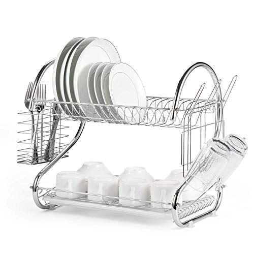 Dish Drying Rack 2-Tier Multifunctional Dish Rack S-Shaped Chicken Dish Drainer Rack Storage Organizer Tool Bowls & Dishes & Chopsticks & Spoons Collection Shelf Dish Drainer Black [US STOCK] ()