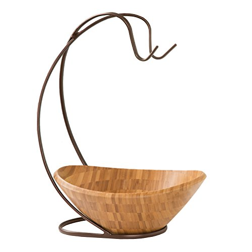 Seville Classics Fruit Tree with Banana Hook and Large Wavy Bamboo Bowl (Beautiful Fruit Baskets)