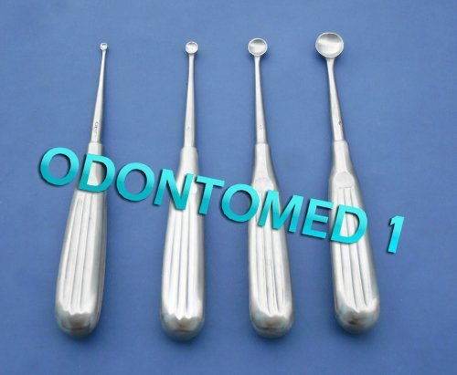 Bone Curettes (4 Spratt Brun Bone Curette Size 000,1,4,6, by ODONTOMED)