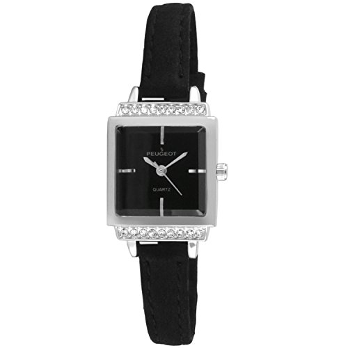 Peugeot Women's Silver Black Face Small Petite Faceted Crystal Thin Black Suede Band Luxury Watch ()