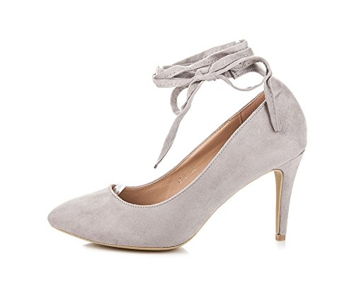 Vices Women's Suede Stilleto Court Shoes With Lacing Grey BEQHsGA9