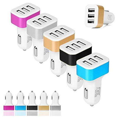 IEnkidu 3 USB Port Fast Car Charging Adapter for Samsung (Black)