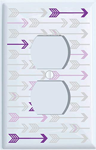 Outlet Cover Purple and Grey Arrow Print Pattern Outlet Covers//Arrows Woodland Forest Nursery Wall Decor for Baby