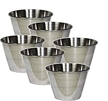 Individual Flan Molds Set of 6. Stainless Steel 2 3/4 x 2""