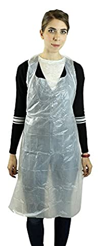 """Disposable Poly Apron 28 X 46"""" 1.25 Mil – Box of 100 - Poly Disposable Aprons"""