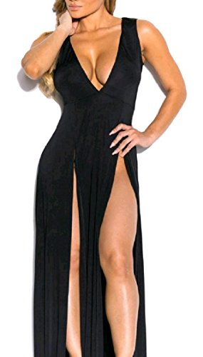 Coolred-femmes Plongent Bandage Cou V Coupe Robe Sexy Club Manches Divisée Pattern2