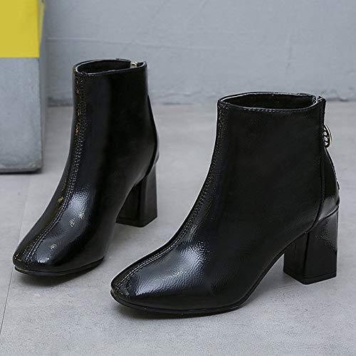 Black 8 US Black 8 US Women's Fashion Boots PU(Polyurethane) Winter Casual Boots Chunky Heel Mid-Calf Boots Black Khaki