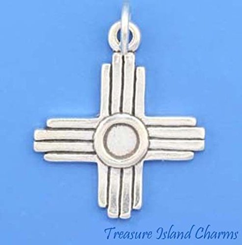 - Zia Native American Sun Symbol New Mexico .925 Sterling Silver Charm Pendant Jewelry Making Supply Pendant Bracelet DIY Crafting by Wholesale Charms