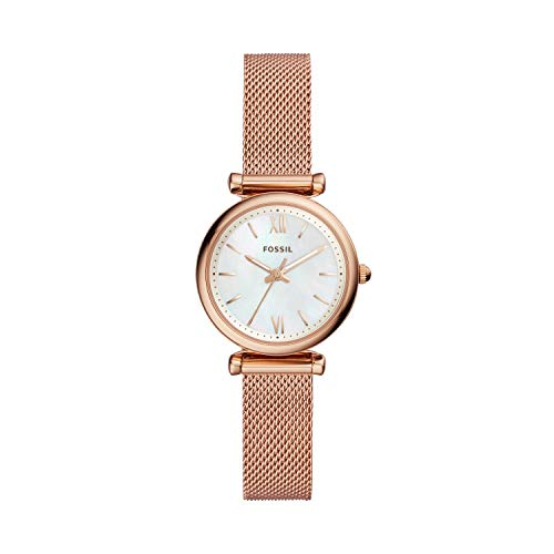 Fossil Women's ' Carlie Quartz Stainless-Steel-Plated Casual Watch, Color:Rose Gold-Toned (Model: ES4433)