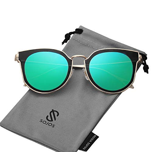 SOJOS Fashion Polarized Sunglasses for Women UV400 Mirrored Lens SJ1057 with Gold Frame/Green Mirrored Polarized Lens