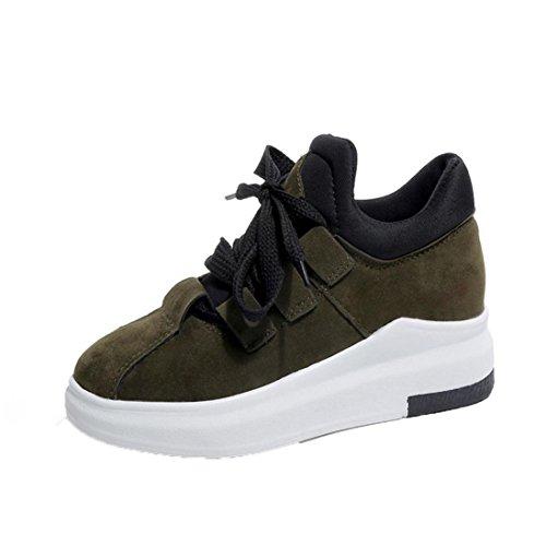 Verde Grueso Sneakers Respirable de de Culater para de Plataforma Zapatos Mujer Deporte Moda Zapatillas 7xnfwPqY0O