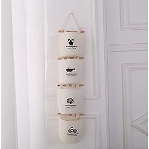 leoyoubei Wall-mounted storage basket Hanging bag, waterproof cotton linen flower pot Small sack, wall-mounted / door magazine storage bag 4pack creamy-white (creamy-white)