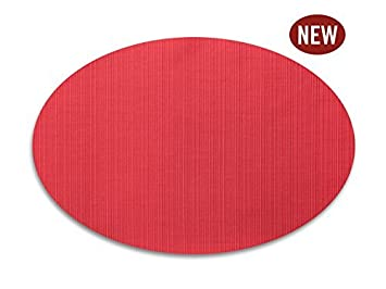 Red Vinyl Placemats Oval Table Mats Washable Wipe Off Solid Red Set Of 4 13  X