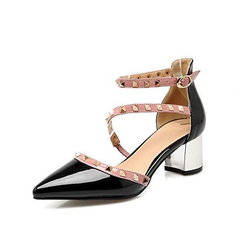 Sandalias Otoño Punta De con Femenina De Grueso Black Mujer Talla Zapatos De Pequeña De Rojo 42 Alto Yukun Tachuelas zapatos con de Tacón De alto Tacón Tamaño Gran Mujer Zapatos tacón wZaUH