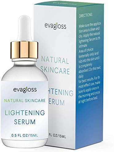Lightening Serum with Kojic Acid, Dark Spot Corrector for Face & Body, Natural Gentle Skin Brightening & Bleaching Serum, Lightens Private, Sensitive Areas by Evagloss