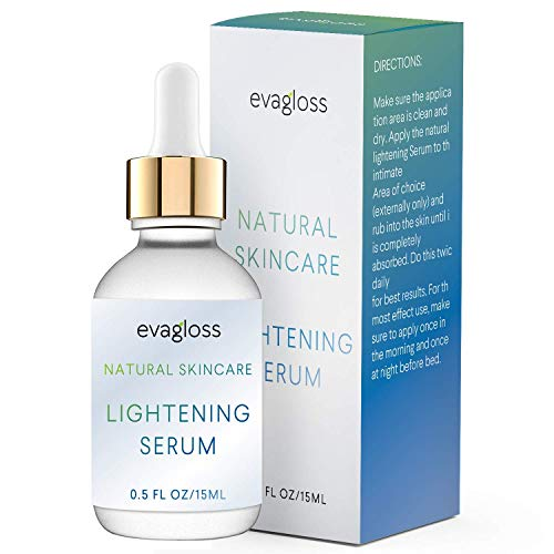 Lightening Serum with Kojic Acid, Dark Spot Corrector Remover for Face & Body, Natural Gentle Skin Brightening & Bleaching Cream, Lightens Private, Sensitive Areas 15ml by Evagloss (Best Facial For Melasma)
