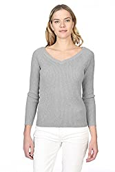 State Cashmere Women S 100 Cashmere Soft V Neck Pullover Sweater Heather Grey
