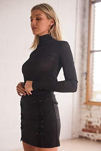 SuDe Femmes sans Tissu LULIKA Courte Serr Mince Jupe Mini Couture Noir Jupe Bandage Stretch qdStdRwHT