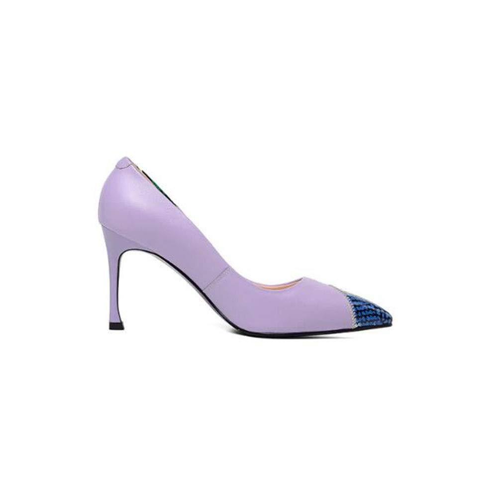 TYD.L High Heels K630 PU PU PU + TPR Frauen Mode Temperament Sexy Spitze Stilettos Damenschuhe Shallow Mund Schuhe Frühling Und Sommer 8CM (Farbe   lila größe   EU37 UK4.5-5 CN37) 42d4f0