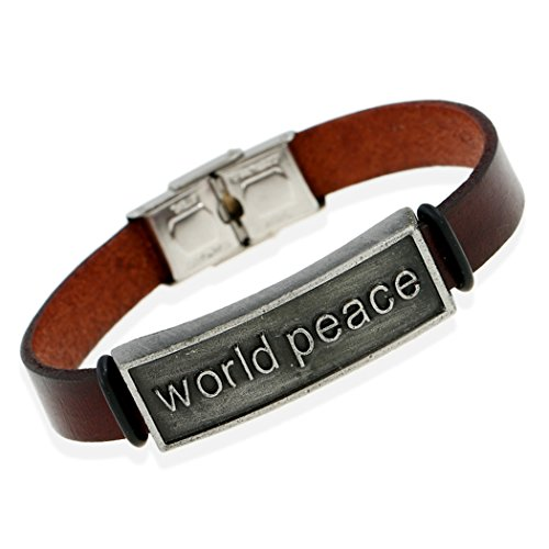 MORE FUN Vintage Style world peace Brown Leather Wide Bangle Bracelet with Metal Clasp