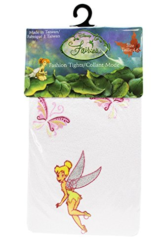 Disney's Tinker Bell Butterfly Themed White Colored Kids Tights (Size 4-6) -