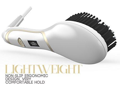 Hair Straightener Brush Magictec Ceramic Heating Straightening Irons Brush Anti Scald Static Detangling And Silky Straight