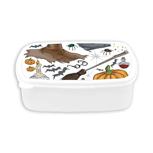 Halloween Decorations Durable Plastic Lunch containers,Magic Spells Witch Craft Objects Doodle Style Grunge Design Candle Skull For dining room,7.09