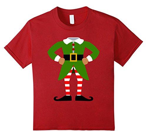 Kids ELF COSTUME Christmas Shirt | Xmas Santa Helper T-Shirt 8 Cranberry