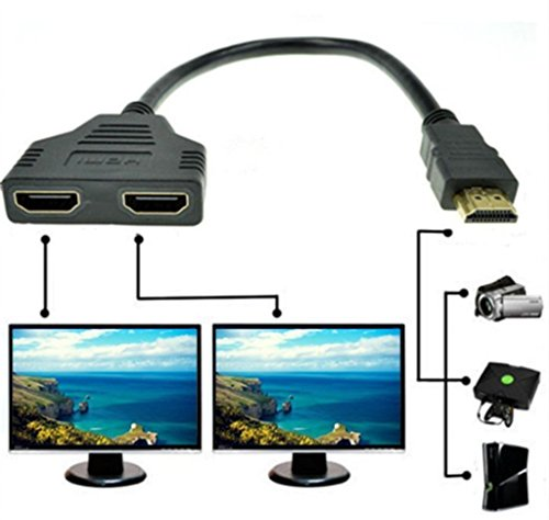 Goodlucking 1080P HDMI Male To Dual HDMI Female 1 to 2 Way Splitter Cable...