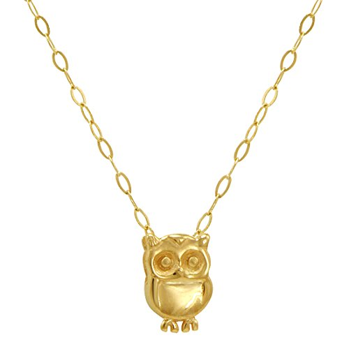 Owl Yellow Gold 14k (Amanda Rose Teeny Tiny Owl Pendant-Necklace in 14k Yellow Gold on a 17 in. Chain)