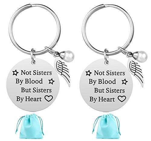 2-Pack Stainless Steel Keychain Best Friendship Gifts for Friend Women Female Girls Sister Birthday -Funny-Graduation Gift