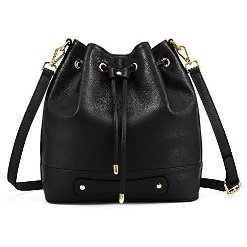 Kattee Drawstring Bucket Bag for Women, Cowhide Leather Crossbody Purse Shoulder Bag (Black)
