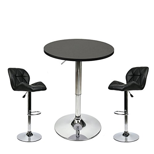 35 Inches Height Pub Table Round Black Mdf Top, with 2 Black Contemporary Chrome Air Lift Barstool Leather Padded Adjustable Swivel Stools by PULUOMIS