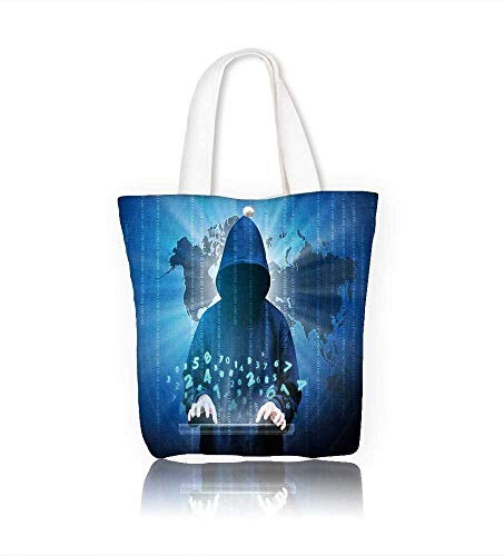 Canvas Zipper Tote Bag computer hacker silhouette of hooded man with binary data and network security terms Reusable Canvas Zipper Tote Bag Printed 100% Cotton W23xH14xD7 INCH