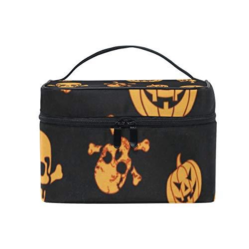 Cosmetic Bag Halloween Pumpkin And Ghost Womens Makeup Organizer Girls Toiletry Case Box Lazy Zip Bag -