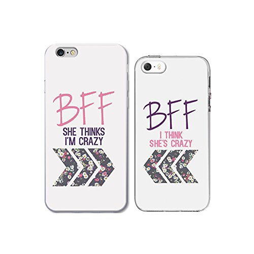 iPhone 6/6S+5S/SE Couple Case for Best Friend-TTOTT Floral Crazy Best friend BFF Ultra-Slim Bumper Protective Back Case for iPhone [Left for iPhone 6 6S Right for iPhone 5 5S SE]